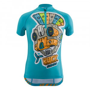 Silvini Scrivia Bike Jersey Kids - sky/orange