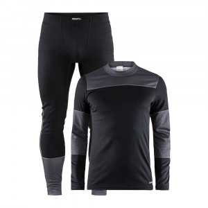 Craft Baselayer Set  - black /dark grey melange