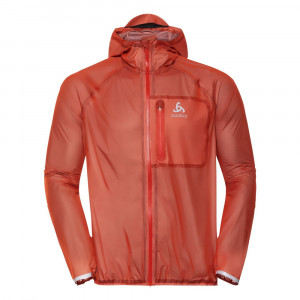 Odlo Zeroweight Dual Dry Waterproof Running Jacket - mandarin red