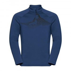 Odlo 1/2 Zip Glade Midlayer - estate blue/placed print FW19